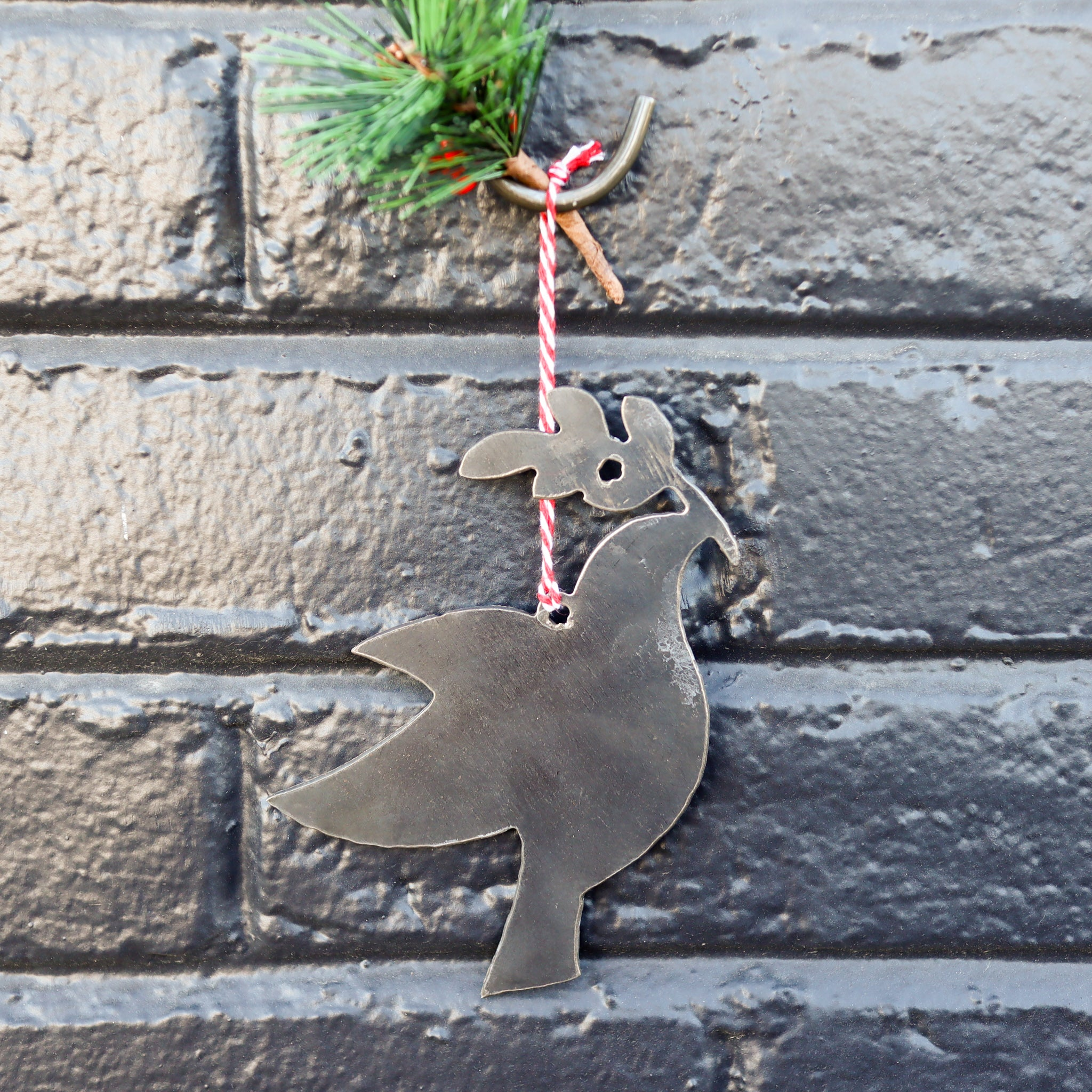 Bird with an Olive Branch Christmas Ornament - Turtle Dove Holiday Stocking Stuffer Gift - Tree Home Decor