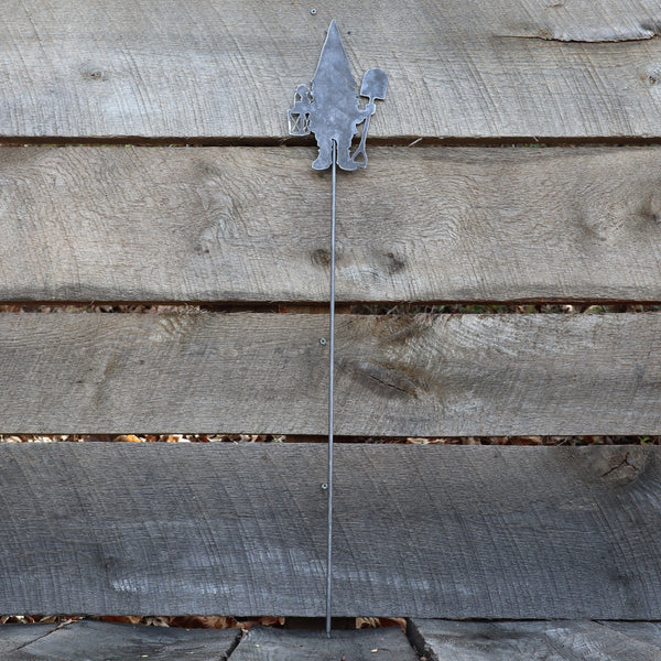 Metal Gnome Garden Stake - Steel Gardening Decor - Fantasy Yard Art Marker