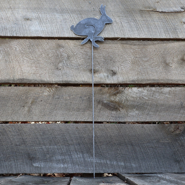 Metal Bunny Garden Stake - Steel Gardening Decor - Rabbit Yard Art Marker