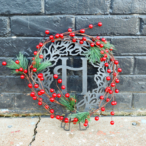Custom Metal Monogram Holiday Wreath - Initial Letter Front Door Hanger Decor - Best Christmas Gift 2019
