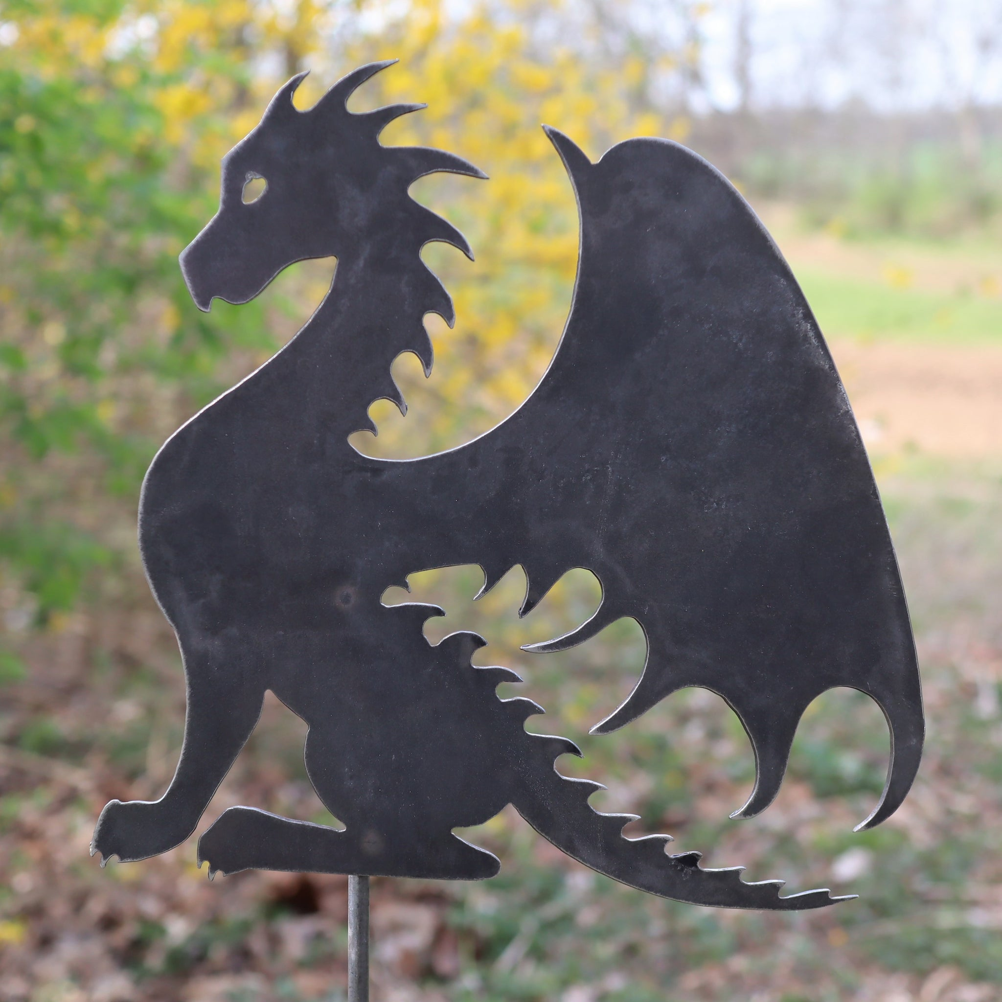 Metal Dragon Garden Stake - Steel Gardening Decor - Fantasy Yard Art Marker