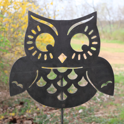 Metal Owl Garden Stake - Steel Gardening Decor - Yard Art Marker