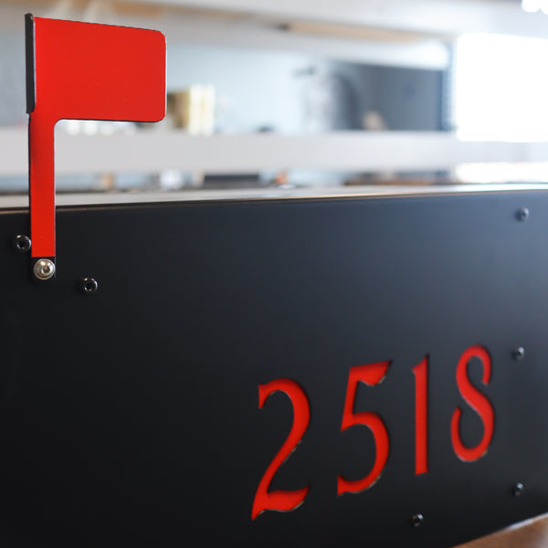 Modern Steel Mailbox - Metal Address Mail Box with Personalized Numbers - Letter Box Post