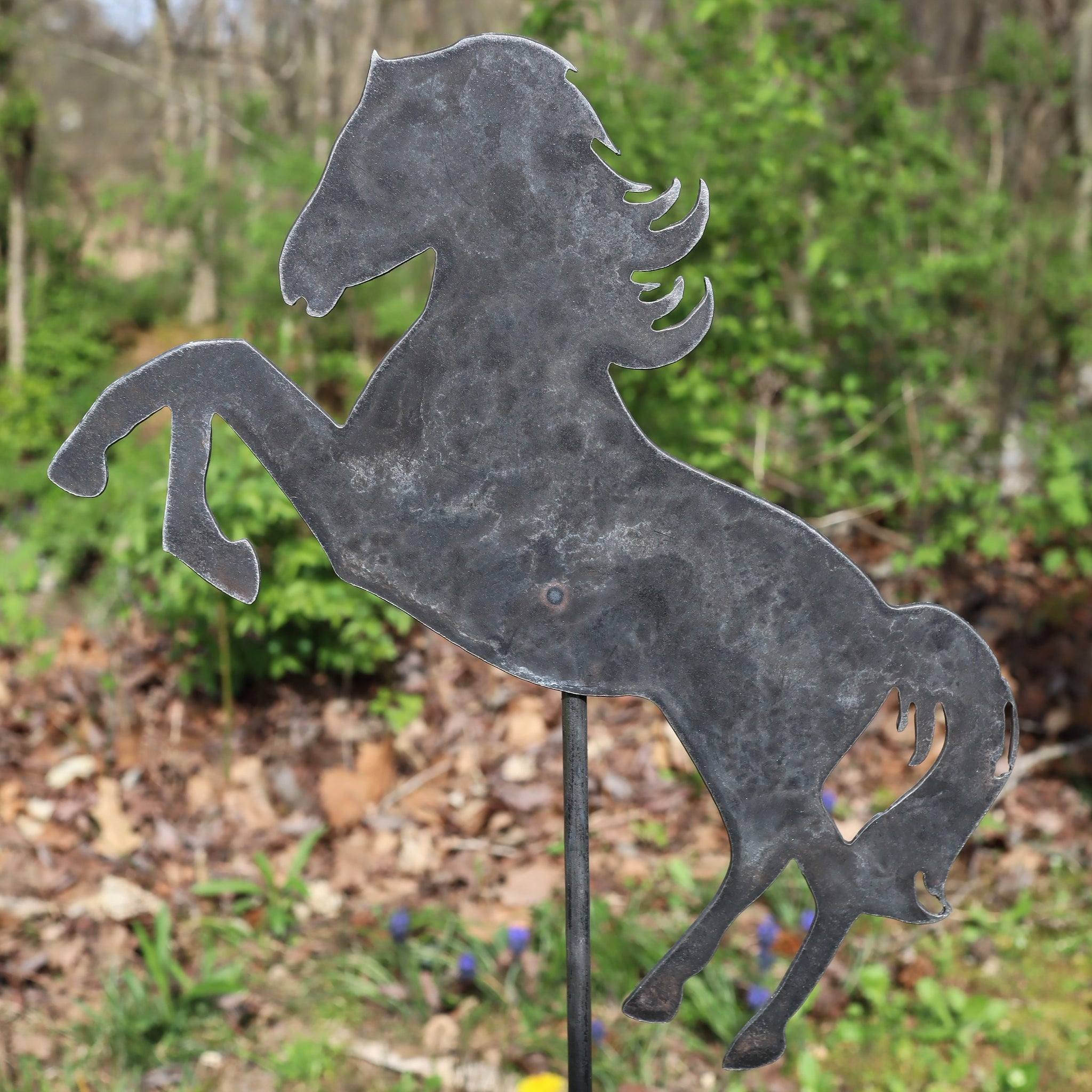 Metal Horse Garden Stake - Steel Gardening Decor - Animal Yard Art Marker