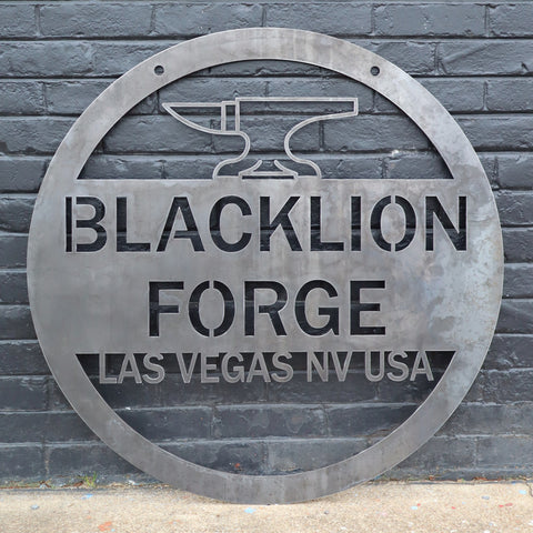 Personalized Hanging Metal Anvil Sign - Blacksmith Forge Wall Art - Man Cave Garage Workshop Decor