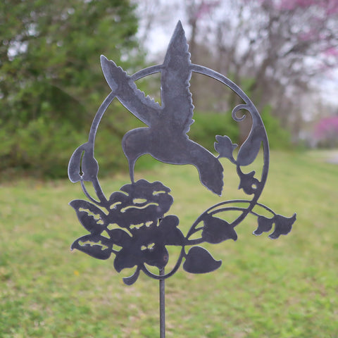 Metal Hummingbird and Flower Garden Stake - Steel Gardening Decor - Bird Yard Art Marker