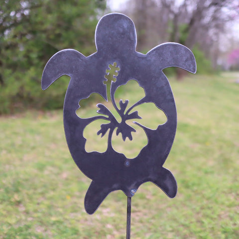 Metal Turtle Garden Stake - Steel Gardening Decor - Hawaii Hibiscus Flower Yard Art Marker