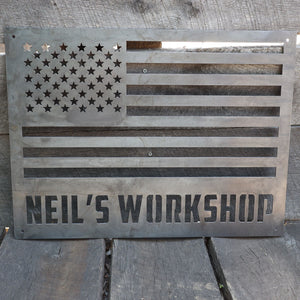Rustic American Flag - Personalized Metal Sign - 4th of July - Man Cave Sign