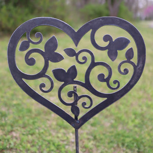 Metal Heart and Swirls Garden Stake - Steel Gardening Decor - Yard Art Marker