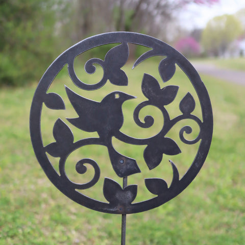 Metal Bird and Vines Garden Stake - Steel Gardening Decor - Circle Yard Art Marker