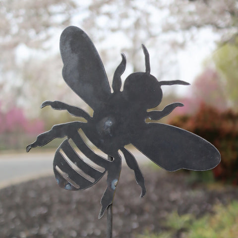 Metal Bee Garden Stake - Steel Gardening Decor - Bumble Bee Yard Art Marker