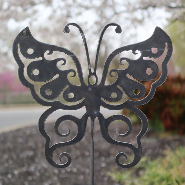 Metal Butterfly Garden Stake - Steel Gardening Decor - Yard Art Marker