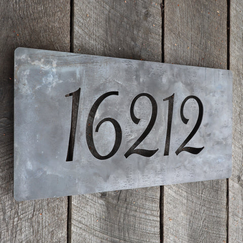Metal House Number Address Plaque Sign - Floating Mounts
