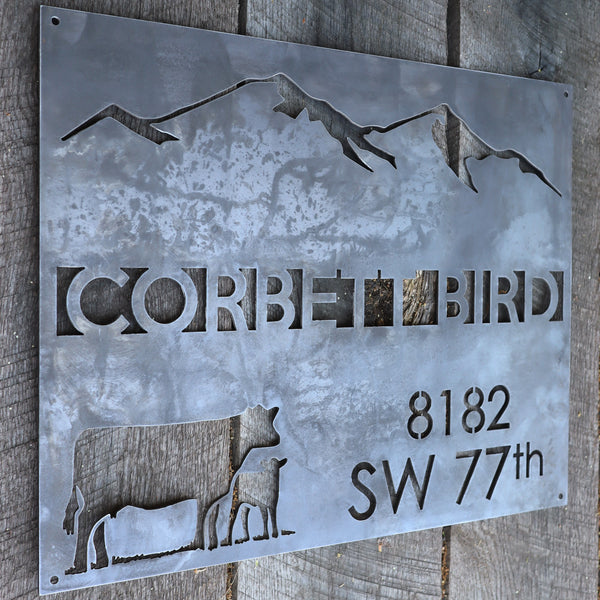 Personalized Rustic Metal Country Address Sign - Mountain Farm Wall Art - Farmhouse Decor