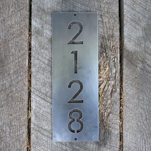 Metal House Address Sign - Vertical Home Address Plaque