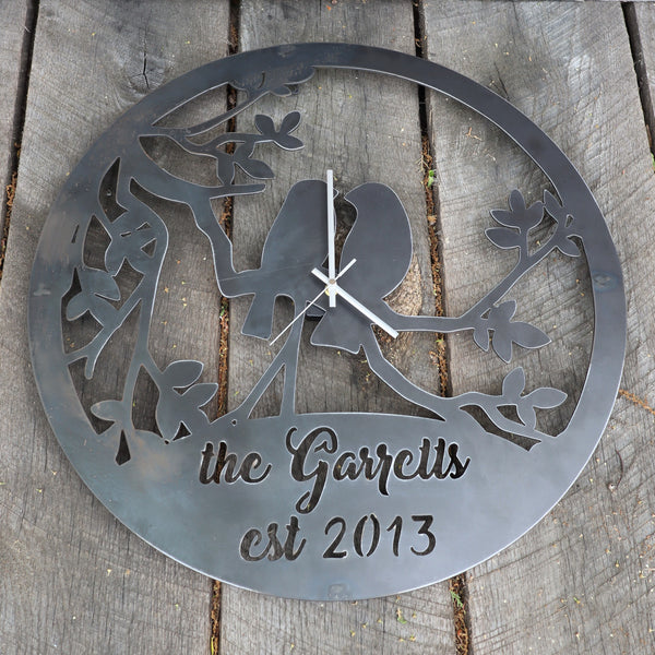 "Personalized Romantic Metal Clock - Rustic Home Wall Art - 24"" Diameter with Birds and Tree Branches"