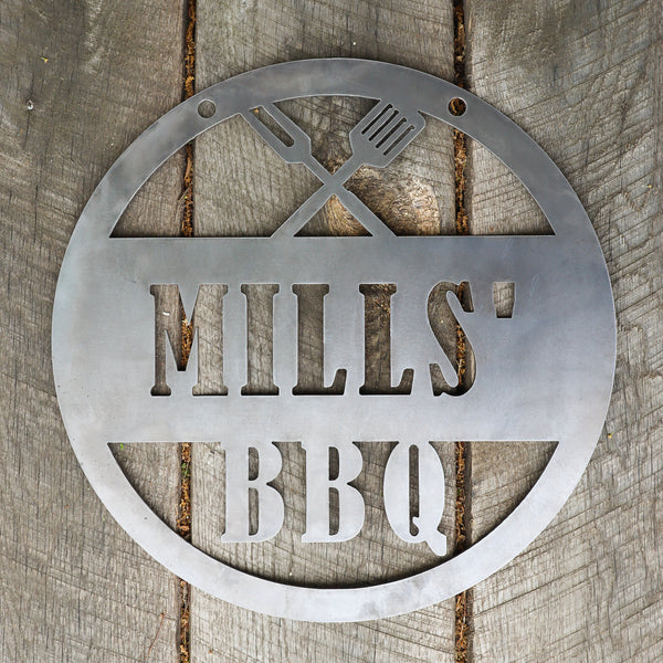 Personalized Metal BBQ Sign - Outdoor Grilling Patio Decor - Man Cave Wall Art