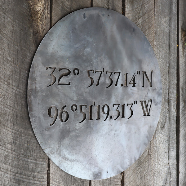Personalized Minimalist Metal Coordinates Sign - Rustic Round Circle Wall Decor