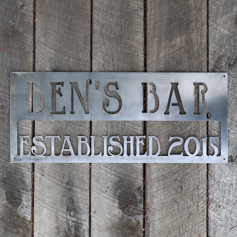 Personalized Metal Bar Sign - Man Cave Wall Art - Compound, Clubhouse, Outdoor Garden Decor