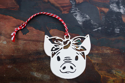 Sassy Piglet Christmas Ornament - Holiday Stocking Stuffer Gift - Tree Home Decor