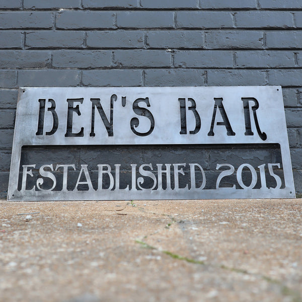 Personalized Metal Bar Sign - Dad's Man Cave Wall Art - Compound, Clubhouse, Outdoor Garden Decor