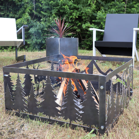 Wilderness Steel Fire Pit - Metal Outdoor Backyard Fire Ring - Nature Patio Decor
