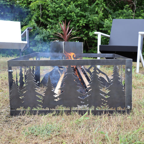 Tree Line Steel Fire Pit - Metal Outdoor Backyard Fire Ring - Wilderness Patio Decor