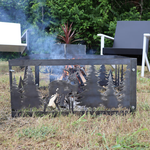 Graceful Deer Steel Fire Pit - Metal Outdoor Backyard Fire Ring - Wilderness Buck Patio Decor
