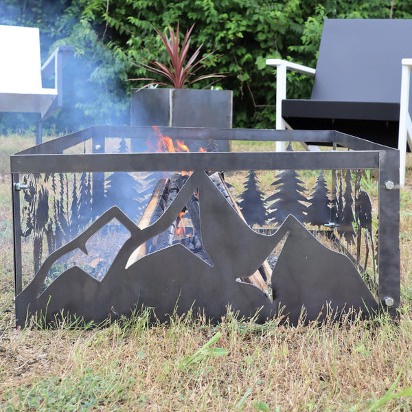 Majestic Mountains Steel Fire Pit - Metal Outdoor Backyard Fire Ring - Wilderness Patio Decor