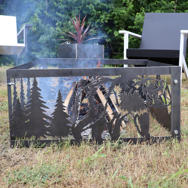 Roaming Bear Steel Fire Pit - Metal Outdoor Backyard Fire Ring - Wilderness Patio Decor