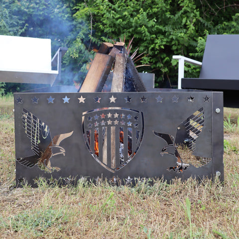 Patriotic Eagles Steel Fire Pit - Metal Outdoor Backyard Fire Ring - American Shield Patio Decor