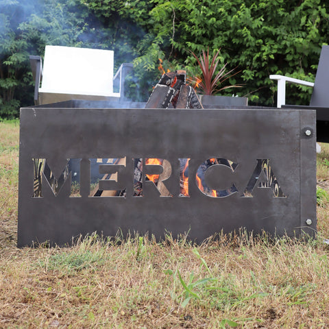 Merica Steel Fire Pit - Metal Outdoor Backyard Fire Ring - Patriotic America Patio Decor