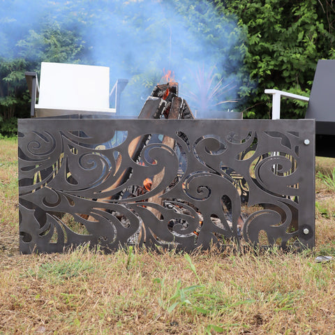 Vintage Swirls Steel Fire Pit - Metal Outdoor Backyard Fire Ring - Swirling Design Patio Decor