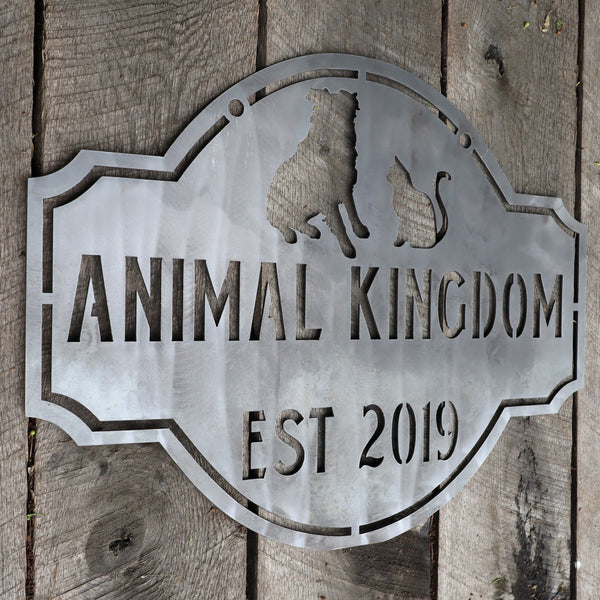 Personalized Hanging Metal Animal Sign - Vintage Family Name Decor - Dog and Cat Wall Art