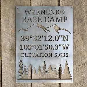 Personalized Base Camp Coordinates & Elevation Sign - Custom Metal Mountain and Trees Camping Decor - Welcome, Cabin Wall Art
