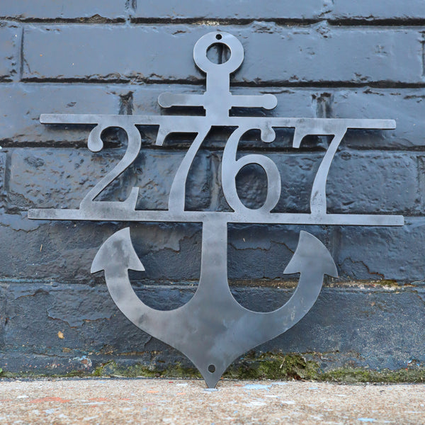 Nautical Address Sign - Metal Anchor Front Porch Home Decor - Beach House Wall Art