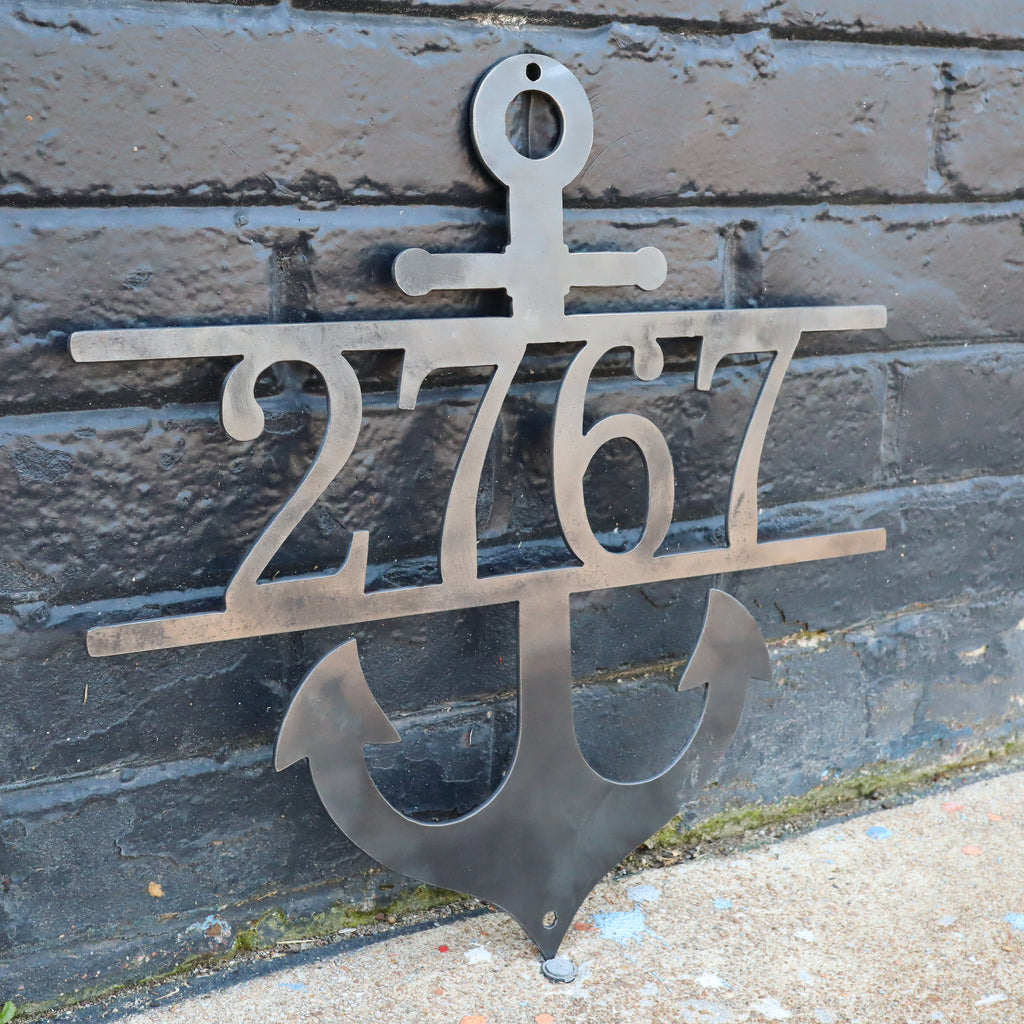 Nautical Address Sign - Metal Anchor Front Porch Home Decor