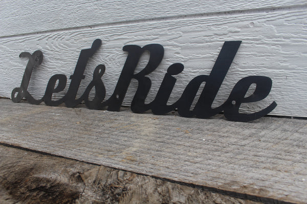 Let's Ride Metal Quote Sign - Motivational Workout Decor - Studio or Home Gym Decor - Peloton SoulCycle Inspiration Wall Art - Free Shipping