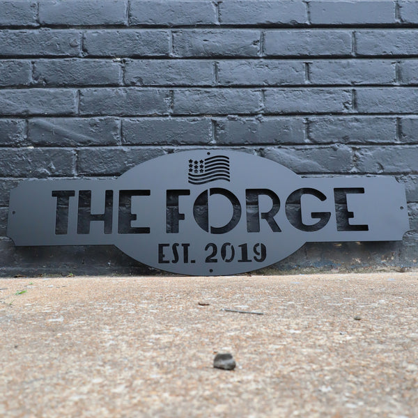 Personalized American Flag Metal Garage Sign - Patriotic Man Cave Wall Art - Fourth of July Decor