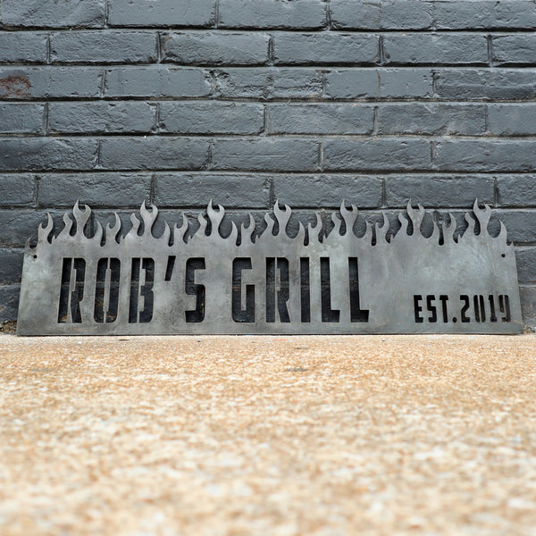 Personal Grill BBQ Metal Sign - Personalized Barbeque, Barbecue, Smoker Decor - Green Egg, Traeger Established Date