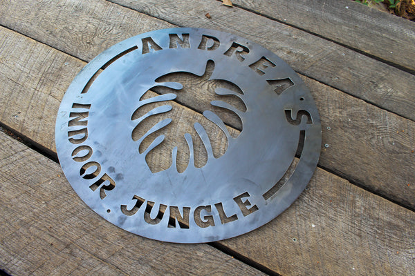 Custom Metal Indoor Jungle Sign - Personalized House Plant Decor - Custom Monstera Wall Art - Swiss Cheese Plant Home Decor