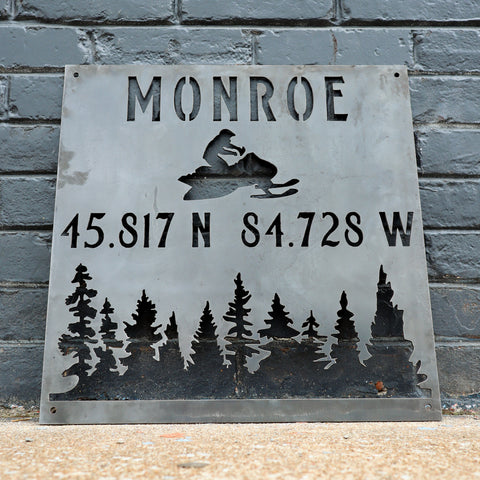 Personalized Metal Winter Coordinates Sign - Rustic Ski Lodge Address Decor - Snowmobile Cabin Wall Art