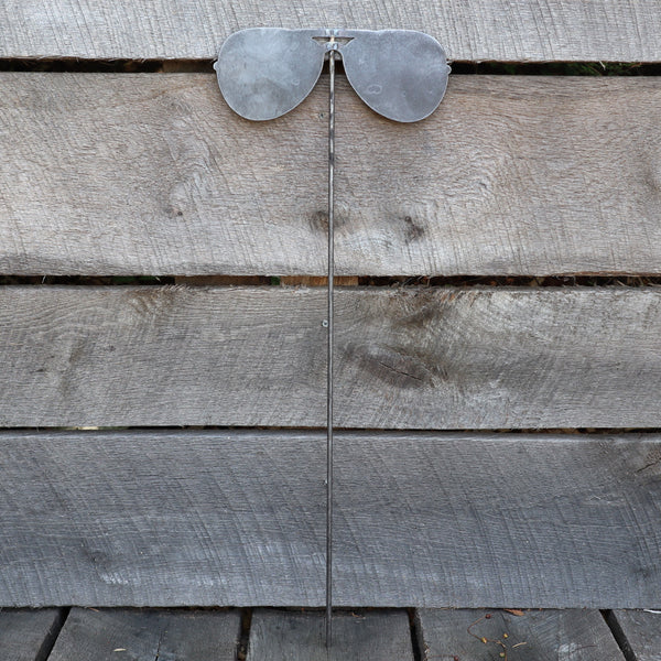 Raw Steel Sunglasses Yard Stake - Fourth of July Garden Art Marker - Metal Aviator Glasses Summer Lawn Decor