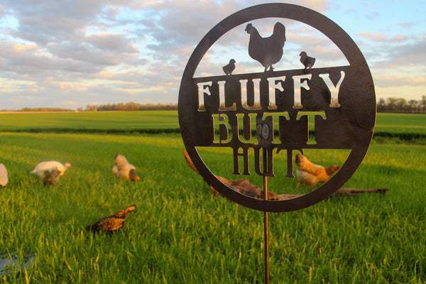 Fluffy Butt Hut - Metal Chicken Coop Garden Stake - Chicken Lawn Decor - Funny Farmhouse Yard Art - Homestead Garden Decor