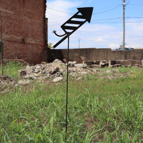 Raw Steel Firework Yard Stake - Fourth of July Garden Art Marker - Metal Summer Lawn Decor