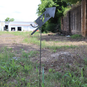 Raw Steel July 4th Firework Yard Stake - Fourth of July Garden Art Marker - Metal Summer Lawn Decor