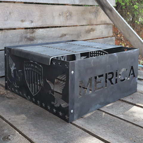 Steel Fire Pit Grill - Metal Outdoor Backyard Cooking Grate - Fourth of July Patio Camping Decor