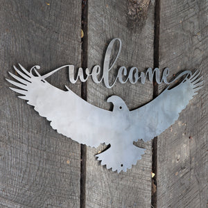Patriotic Welcome Metal Sign - American Eagle Wall Art - Fourth of July Decor