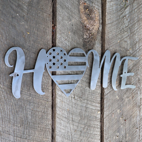 Metal Home Sign - American Flag Heart Wall Art - Fourth of July Decor