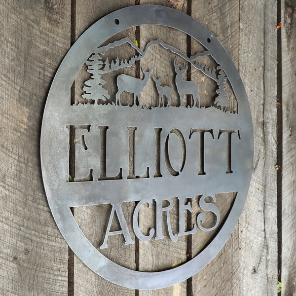 Hanging Metal Woodland Mountain Sign - Personalized Rustic Cabin Wall Art